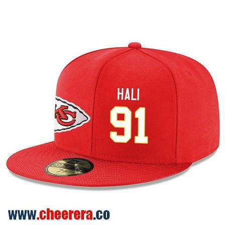 Kansas City Chiefs #91 Tamba Hali Snapback Cap NFL Player Red with White Number Stitched Hat