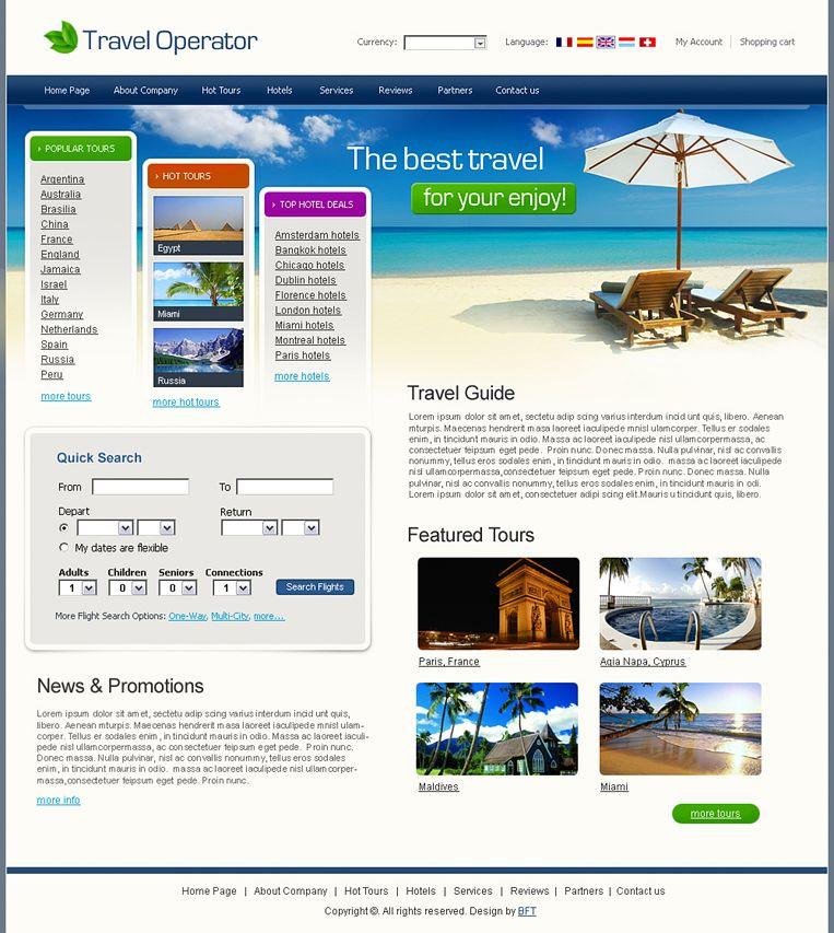 Free Travel Template, Travel Operator Website | Drupal Templates ...