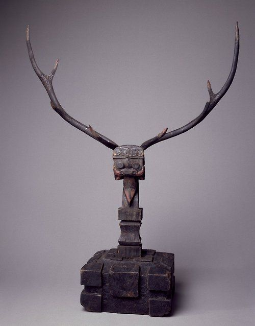 Mythical Figure, 5th-3rd century B.C.E., Warring States Period,  Wood, horn, lacquer, and polychrome, assembled: 41 5/8 x 30 1/2 x 12 3/16 in. (105.7 x 77.5 x 31.0 cm).  Brooklyn Museum