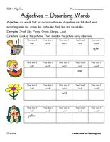 Adjective Activities and Worksheets: EnchantedLearning.com