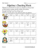 math worksheet : adjectives worksheet  worksheets science worksheets and parts of  : Kindergarten Adjective Worksheets