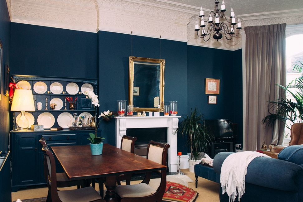 alex 39 s deep blue living room makeover for the home room living room living room color schemes. Black Bedroom Furniture Sets. Home Design Ideas