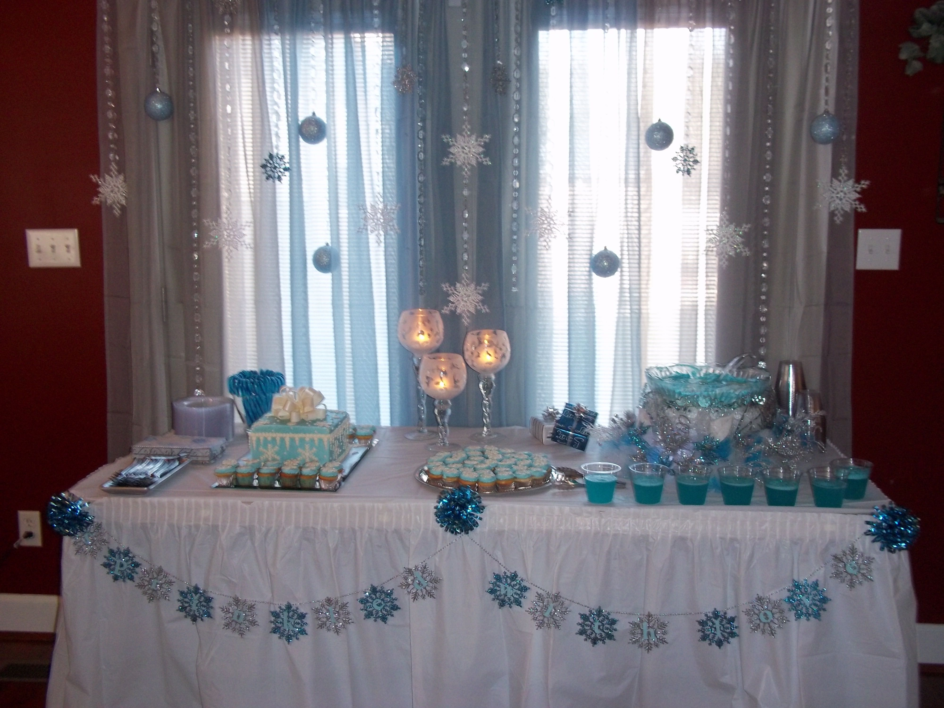 Cake And Punch Table With Images Holiday Snowflakes Punch