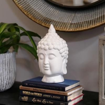 Urban Trends Collection 10.25 in. H Buddha Decorative Sculpture in White Gloss Finish 14853 - The Home Depot #buddhadecor