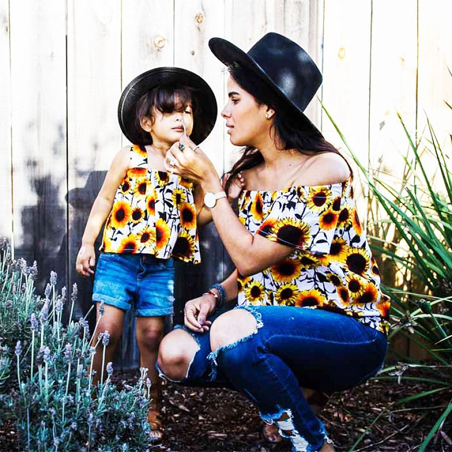 PopReal Mommy and Me Outfits Tshirt Skirt Set Sequined Sparkely Heart Print Short Sleeve Matching Dresses