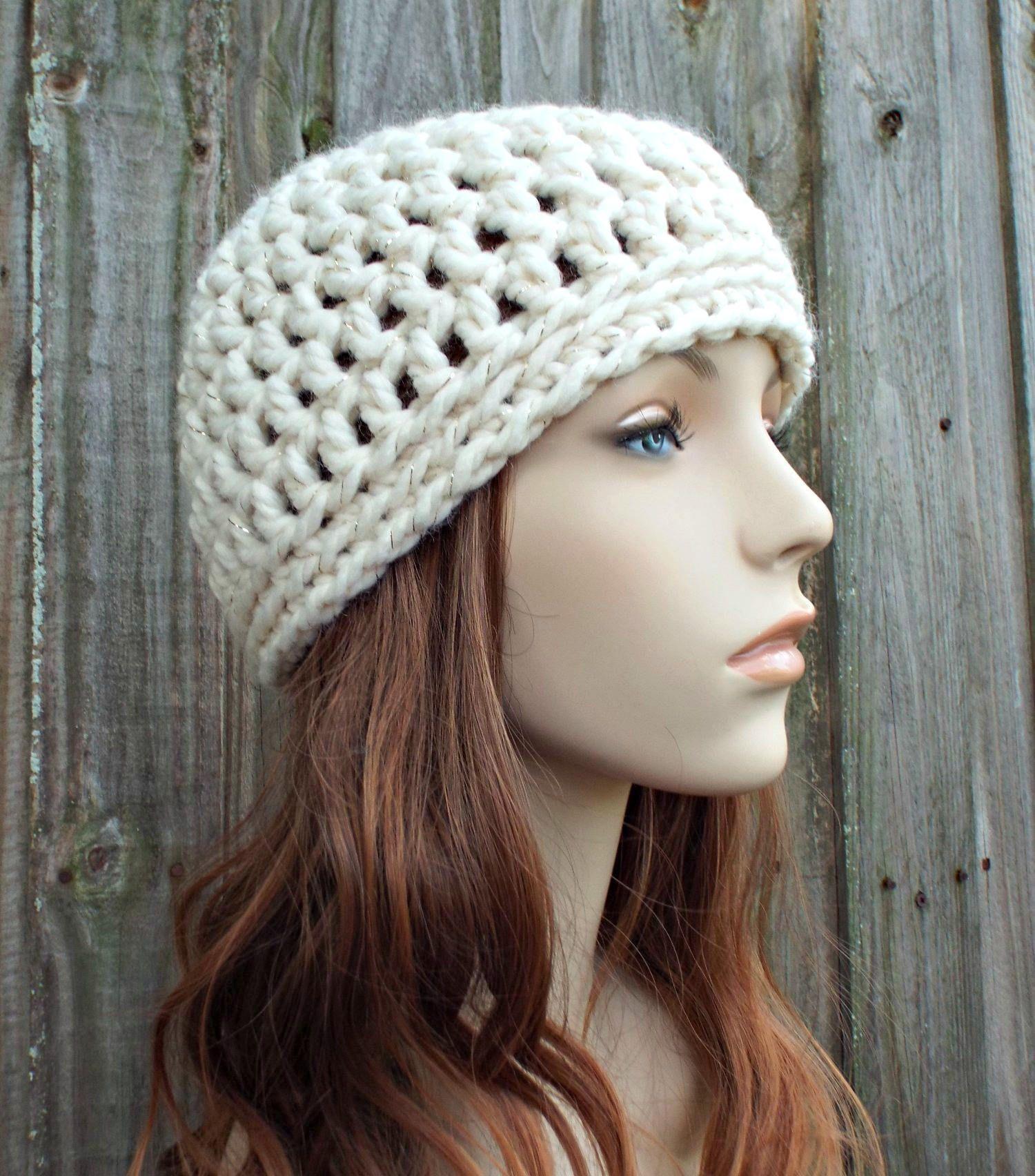 Metallic Cream Beanie Metallic Cream Hat - Crochet Womens Hat Mens ...