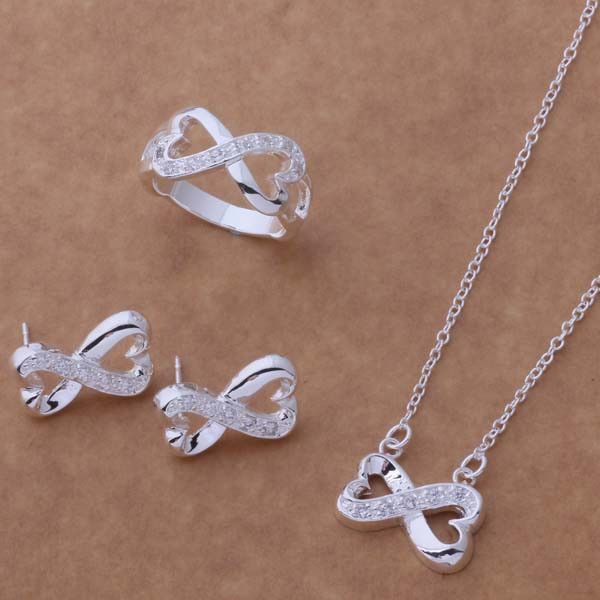 AS167 Hot 925 sterling silver Jewelry Sets Earring 149 + Necklace 596 + Ring 239 /agtaiyaa angajena