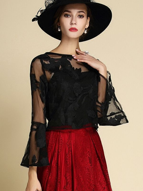 Black Flared Sleeve Embroidered Floral Blouse