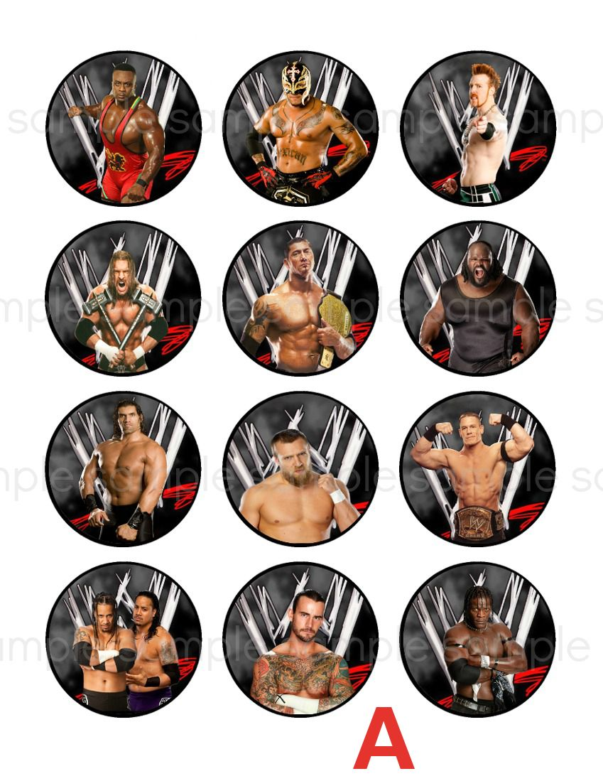 WWE cupcake toppers WWE edible cupcake toppers Pinterest Wwe