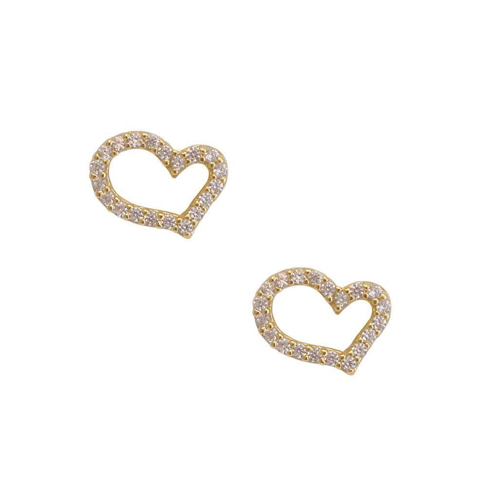 Shapely Heart Diamond Studded Earrings
