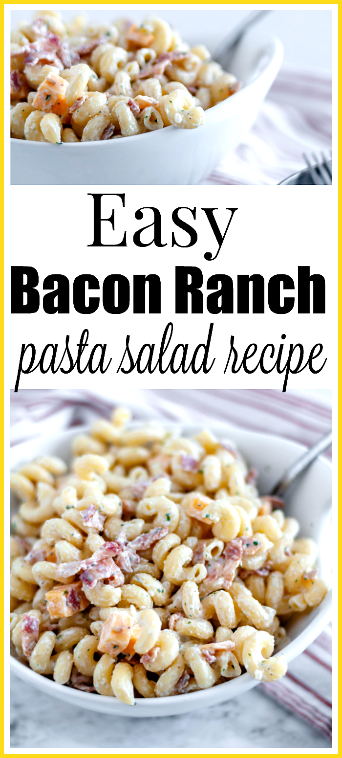 SO GOOD Easy bacon ranch pasta salad recipe  add chicken cheese peas whatever sounds good pastasala