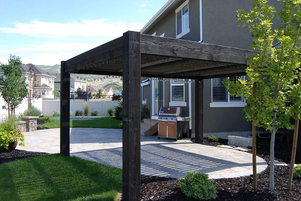Modern Pergola Design Ideas built From Solid Natural Wood with Black  Varnish completed with Roof for the Small Patio in the Backyard planted  with Trees and ... - Modern Pergola Design Ideas Built From Solid Natural Wood With Black
