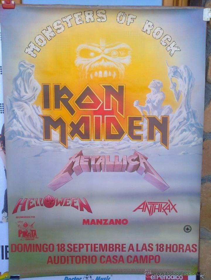 IRON MAIDEN - METALLICA -HELLOWEEN - ANTRAX - MANZANO 1988 MADRID CARTEL ORIGINAL DEL CONCIERTO (Música - Fotos y Postales de Cantantes)