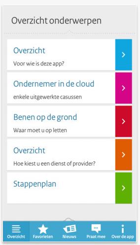 Cloudbewust app (o.m. Min EZ): Cloud computing voor het mkb, de app is voor ondernemers die (delen van) hun bedrijfsvoering via internet willen doen. http://www.cloudbewust.nl/