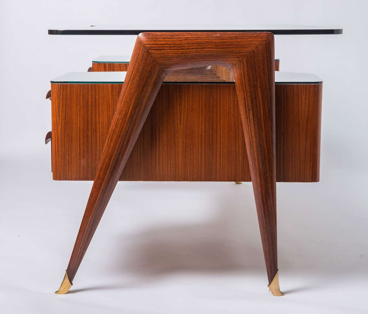 Paolo Buffa Style Indian Rosewood And Glass Desk, Italy Circa 1950