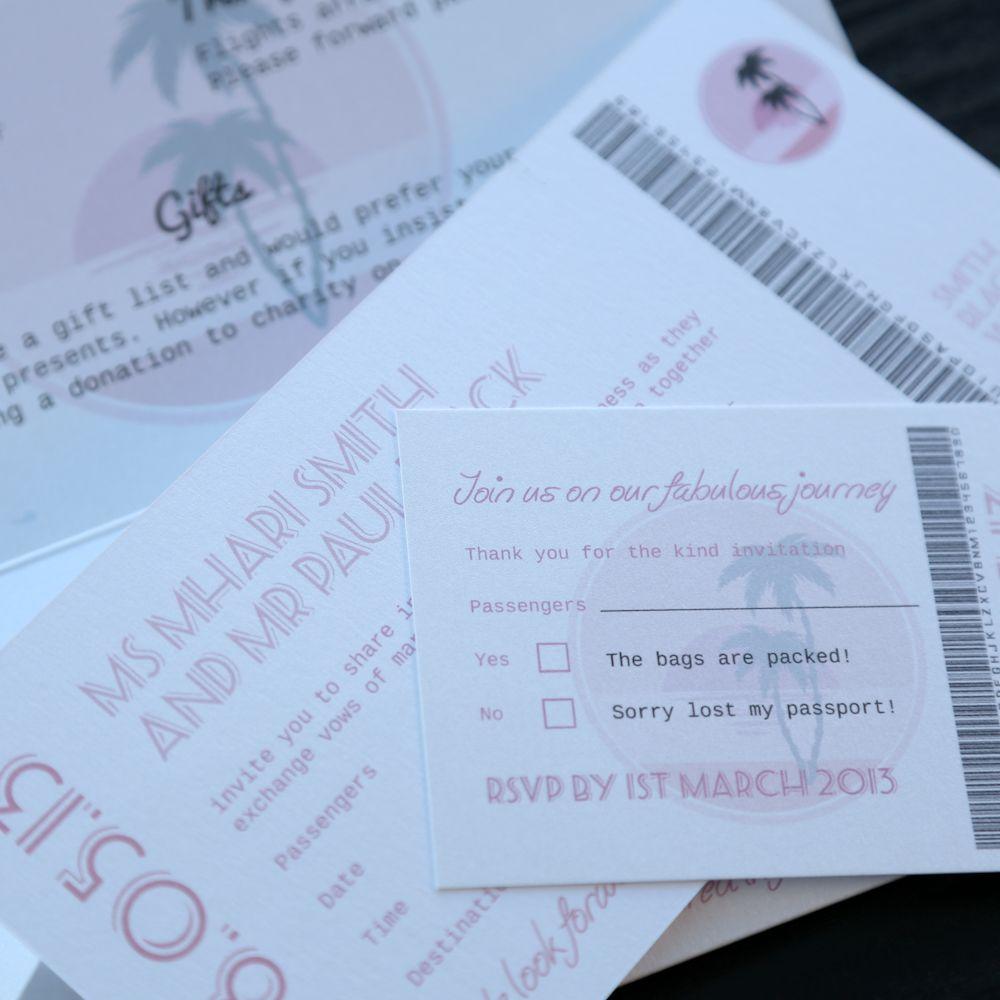 Pink Palm Tree Tropical Travel Wedding Invitation - Vintage Wedding ...