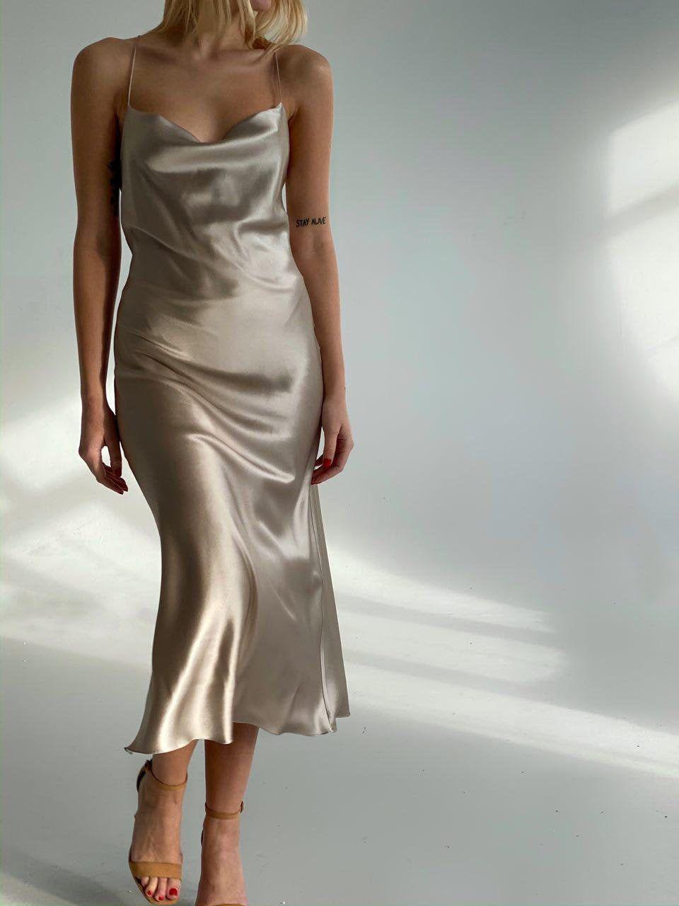 Cowl Neck Silk Slip Dress Midi Silk Slip Bias Dress Gray Beige Etsy Silk Slip Dress Slip Dress Formal Wear Dresses