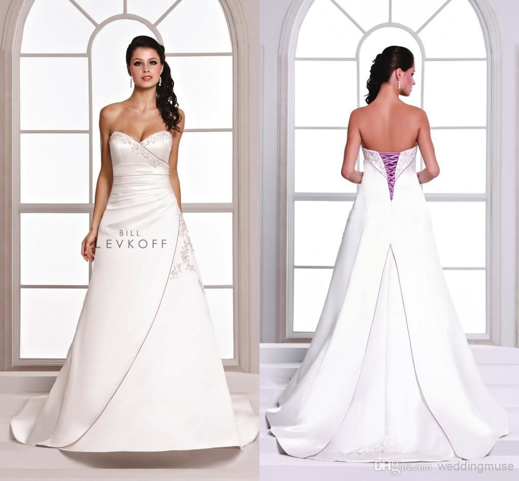 Plus size white wedding dress  Sexy  Vintage Purple And White Wedding Dresses Embroidery Bill