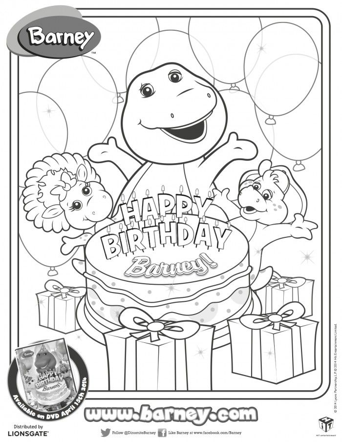 happy birthday barney printable coloring page printables