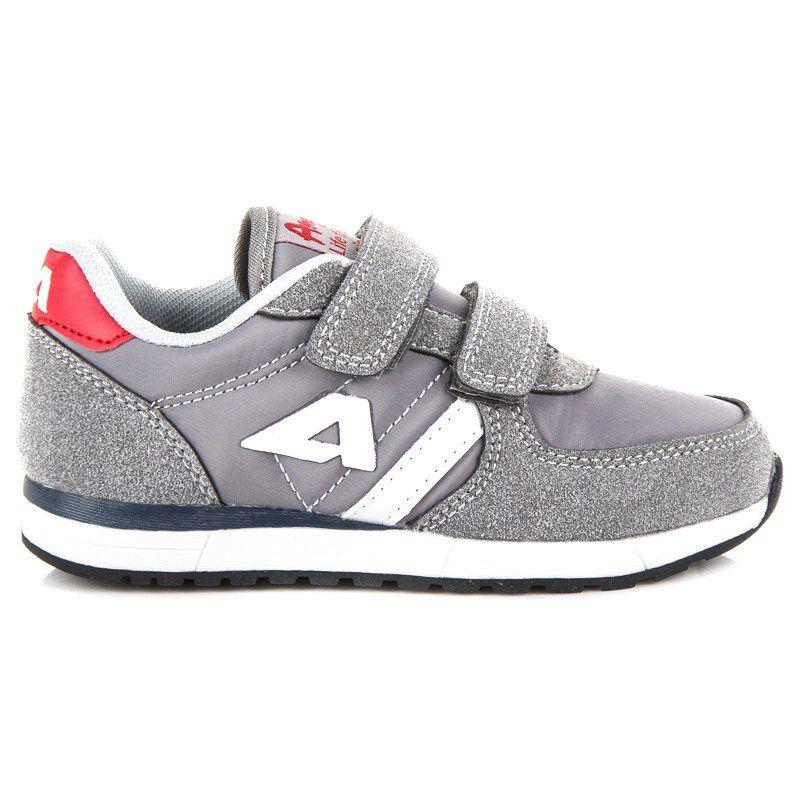 Buty Sportowe Dzieciece Dla Dzieci Americanclub Szare Zamszowe Trampki Na Rzep American American Club Sneakers Shoes New Balance Sneaker