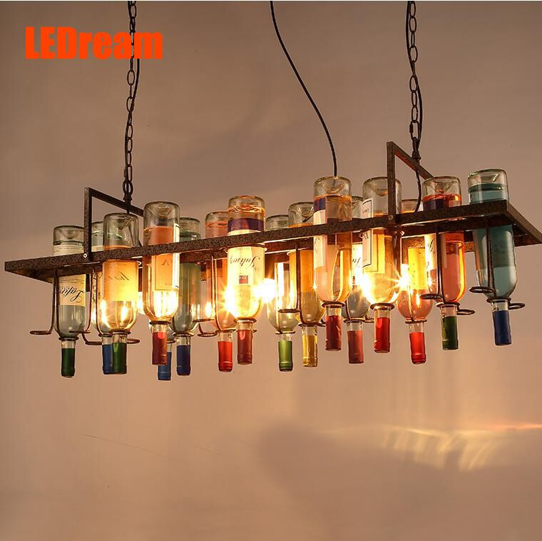Goedkope Loft creatieve flessen droplight restaurant versiering art ...