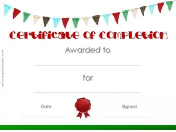 Printable Certificate Template With Colored Flags And A Red Wax