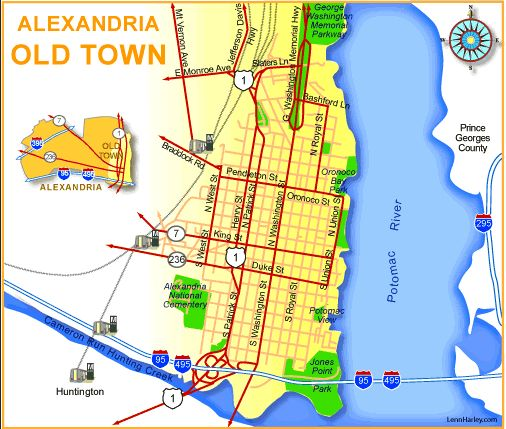 Cadastral Map Usa : Map of old town alexandria washington dc area