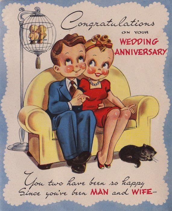 Vintage 1940 S Congratulations On Your Wedding Anniversary Greetings Card B11 Wedding Anniversary Greeting Cards Happy Anniversary Cards Anniversary Greetings