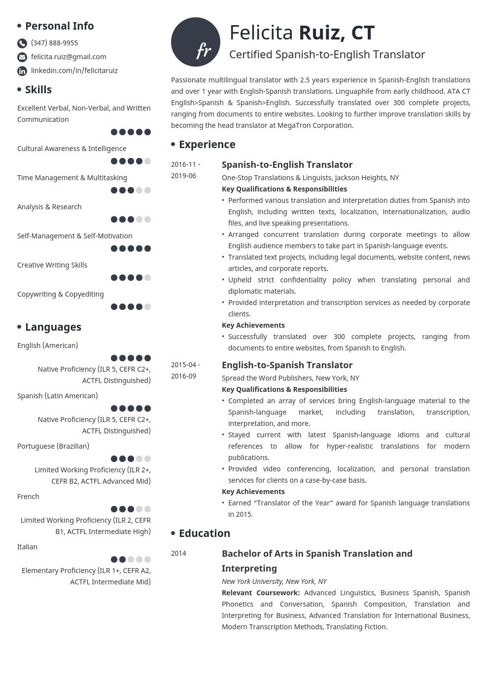 Translator Resume Example Template Initials Job Resume Examples Resume Layout Resume Examples