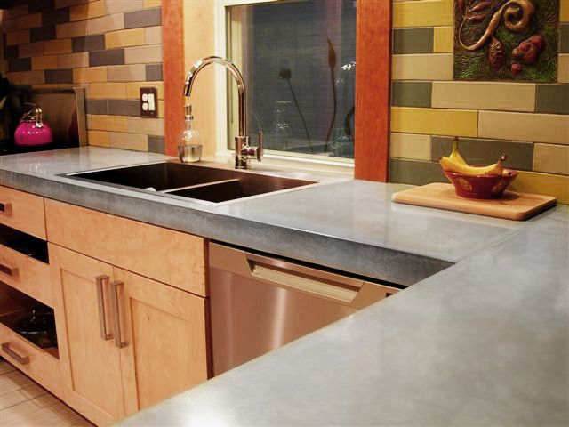 Grey Concrete With Custom Birch Cabinets Work Shop From Concrete Kitchen  Cabinets
