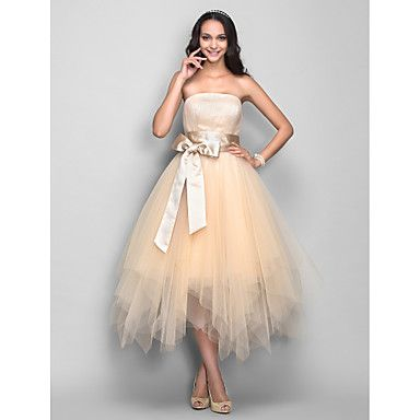TS Couture Cocktail Party / Holiday Dress - Champagne Plus Sizes / Petite A-line Strapless Tea-length Tulle - USD $ 69.99