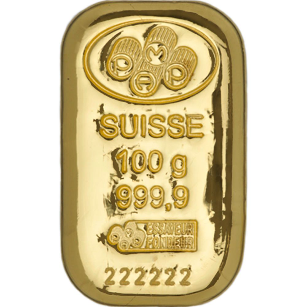 Share Us With Your Friends 100 Gram Pamp Suisse Gold Bar