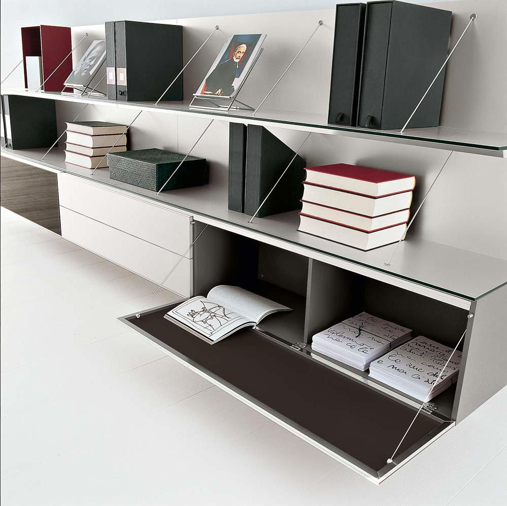 Bu0026B Italia Bookcase: Floating Cabinet With Shelves
