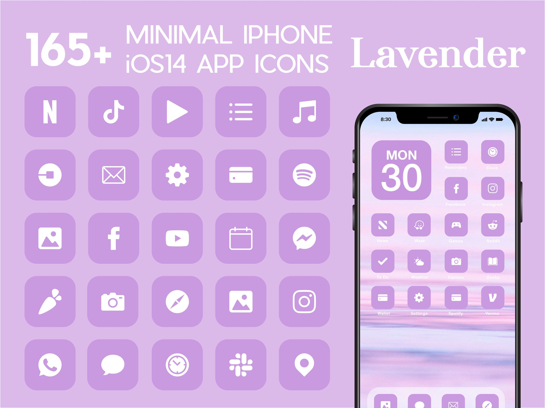 iOS Lavender App Icons   21+ Light Purple Minimal iOS 21 Modern ...