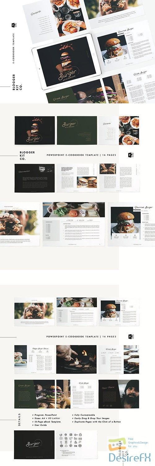 eBook Template Cookbook 16 Pages PowerPoint Graphics