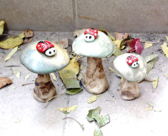 Amazing 3 Ceramic Miniatures Of Green Mushrooms With 3 Little Red And White  Beetles. Decoration For