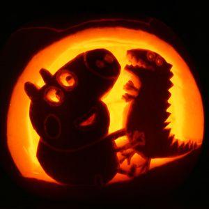 pumpkin template peppa pig  George Pig Halloween Pumpkin Template | Pumpkin carving, Pig ...