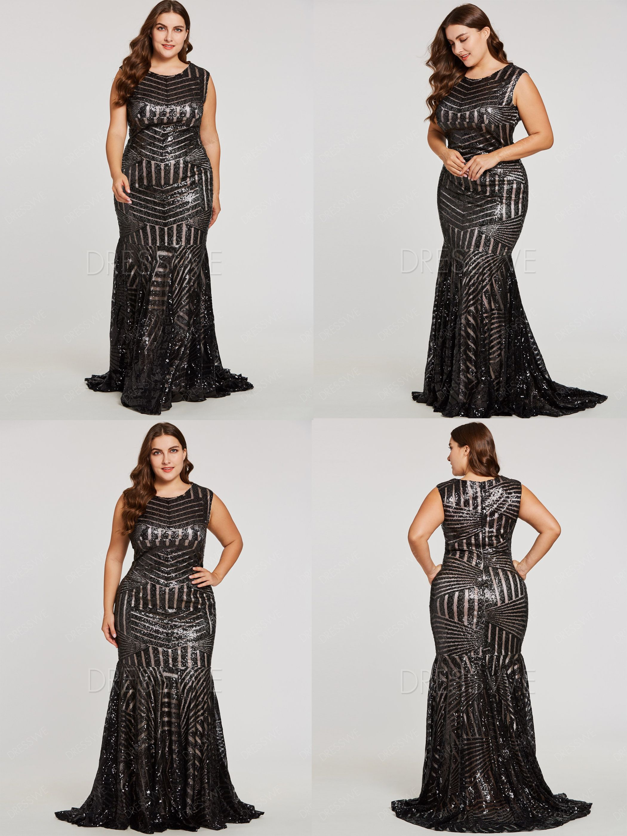 b52fece95d6 Plus Size Zipper-Up Sequins Mermaid Long Hot Evening Dress ...