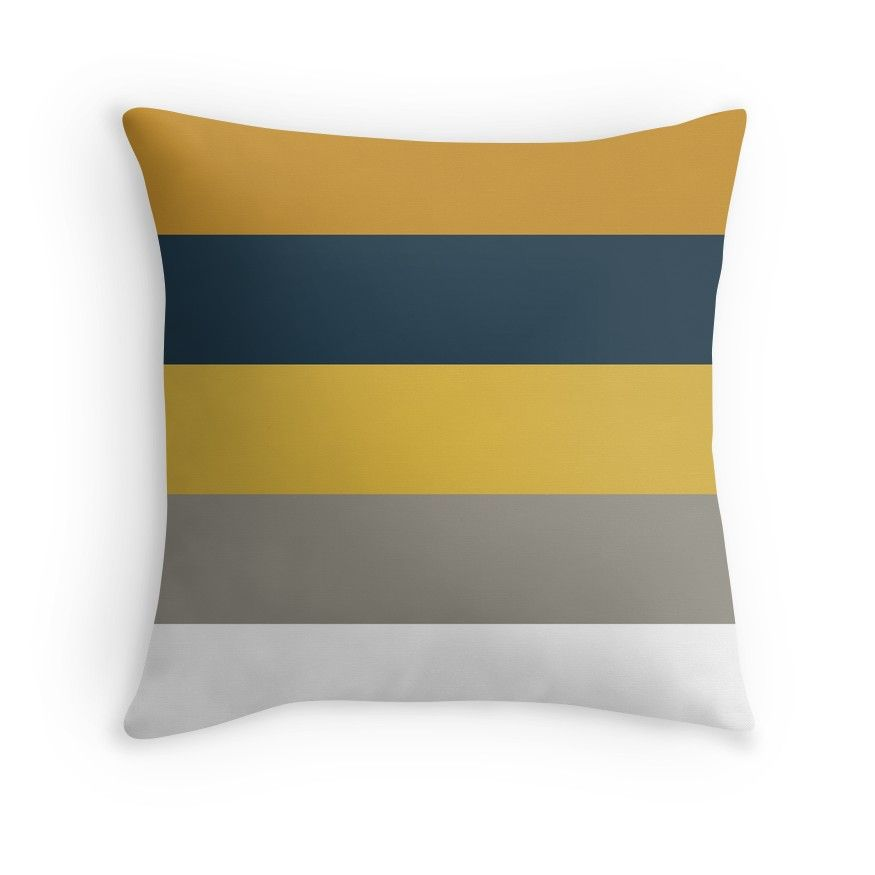 Light And Dark Mustard Yellow Grey White And Navy Blue Stripes Throw Pillow Mustard And Grey Bedroom Blue And Mustard Living Room Mustard And Grey Cushions