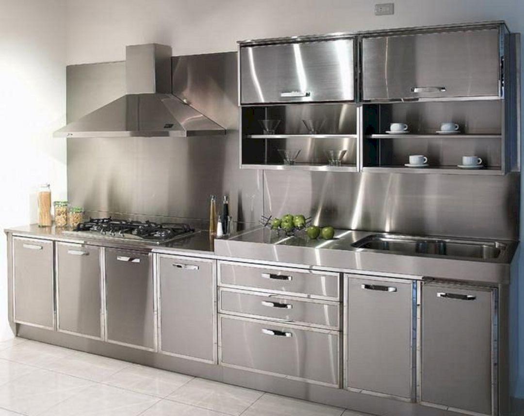 25 Super Modern Stainless Steel Kitchen Cabinet Design For Cozy Kitchen Ideas With Images Aluminum Kitchen Cabinets Steel Kitchen Cabinets Aluminium Kitchen