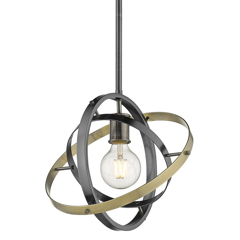 Golden Lighting Atom 1 Light Medium Pendant In Brushed Steel 7936 M Bs Bs Ab Geometric Pendant Light Modern Pendant Light Steel Paint