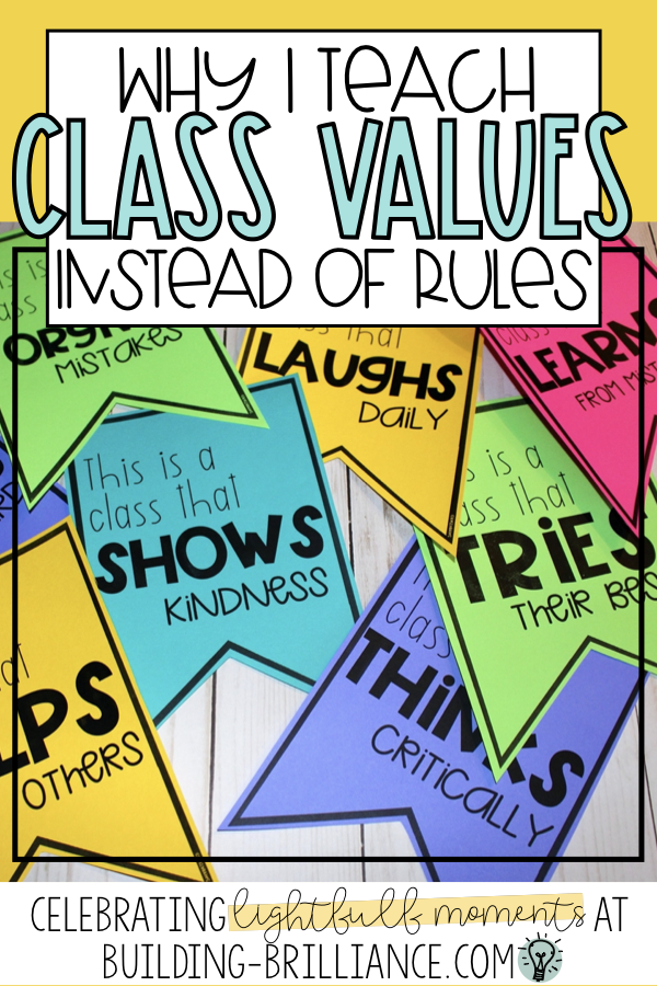 I am a firm believer  that kids will become whatever you tell them they are. My entire  classroom management changed for the better when I decided to be focus  my growth mindset to be a proactive teacher rather than reactive. Read  about what happened when I threw out the rule book and started teaching  Classroom Values instead! #GrowthMindset #ClassroomManagement #BuildingBrilliance