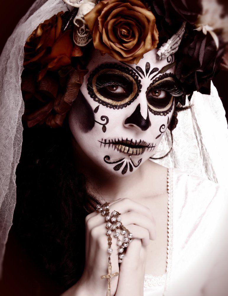 sugar skull bride Day of the Dead Dead makeup, Skull