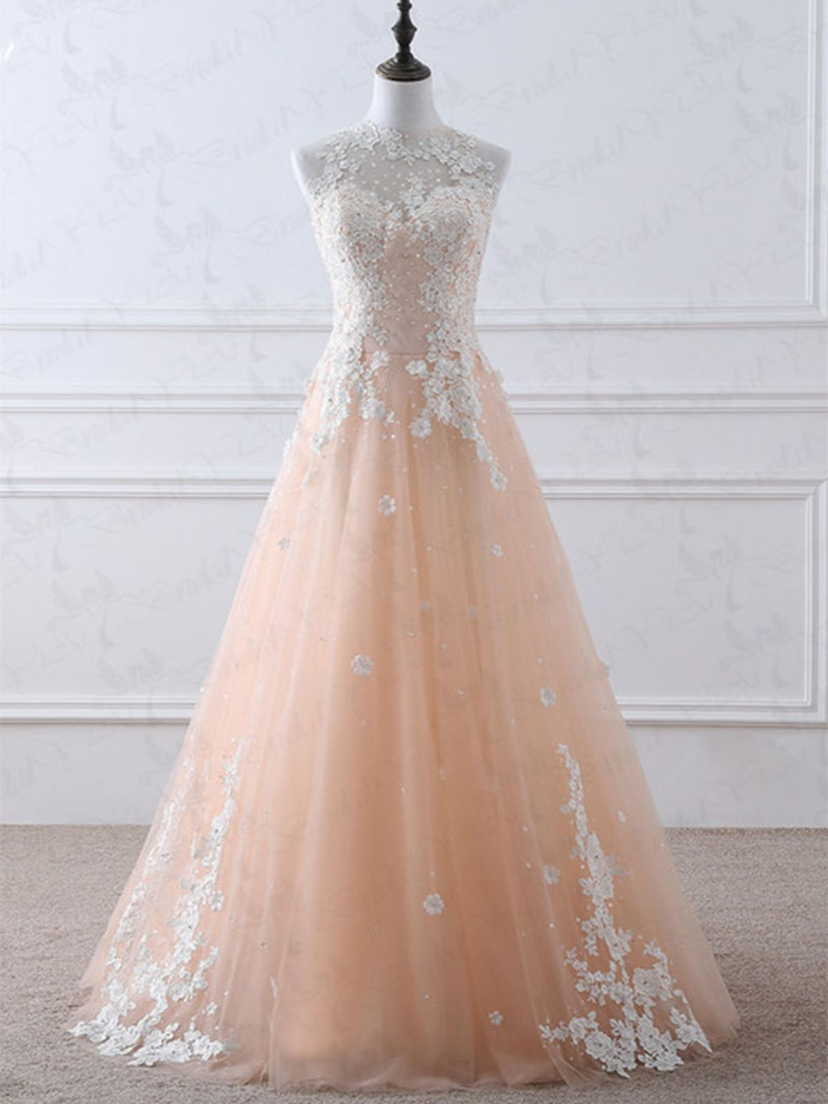 High Neck White Lace Appliques Pink Long Prom Dresses 2020 ...