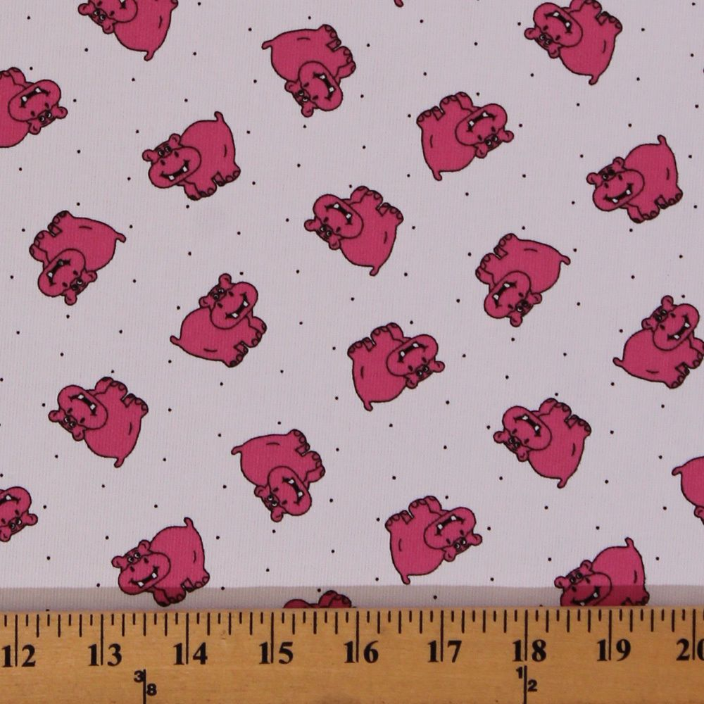 Hippos Pink Hippopotamuses Dots White Pique 60 Wide Fabric Print D25604