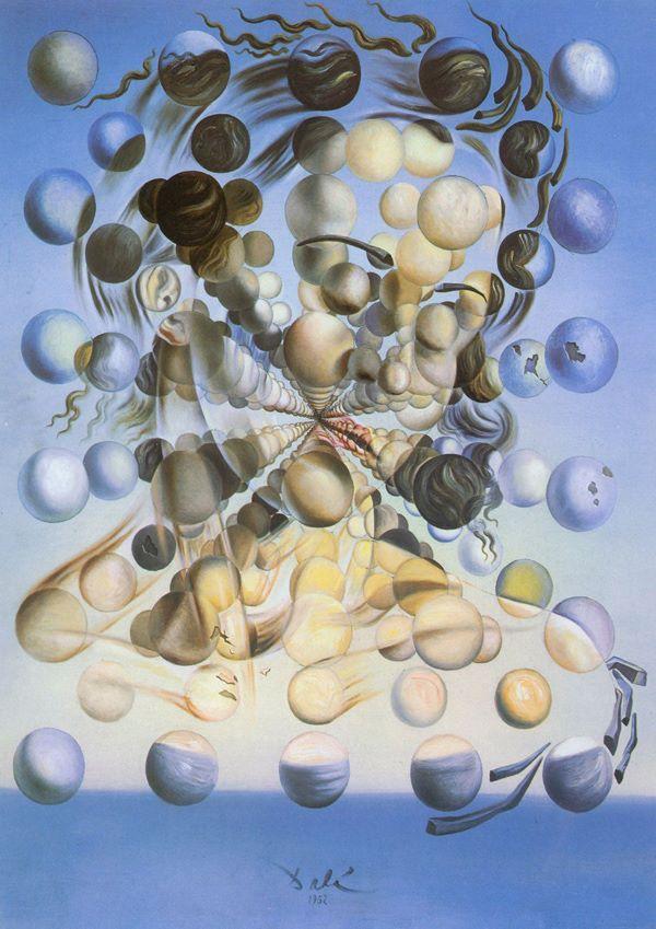 """""""Galatea das esferas"""" , de SALVADOR DALÍ O nome Galatea se refere a uma ninfa da mitologia clássica, conhecida por sua virtude. Também pode referir-se a estátua criada por Pigmalião. A obra apresenta a cabeça e os ombros de Gala, composta por uma matriz de esferas suspensas no espaço, representando uma síntese da arte renascentista e da teoria atômica. O quadro também ilustra a descontinuidade final da matéria, ou seja, as esferas são uma representação das partículas atômicas."""