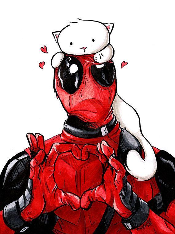 Deadpool Kitty Art Print 8.5x11\