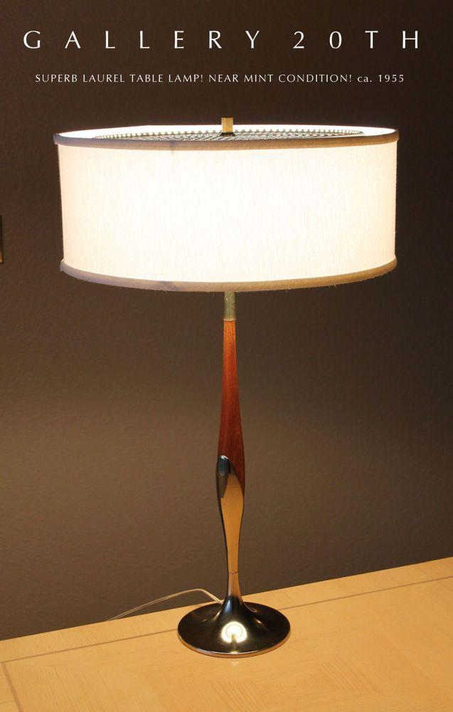 Laurel Mid Century Modern Table Lamp Eames 50s Vtg Tulip Brass Wood Atomic Era Mid Century