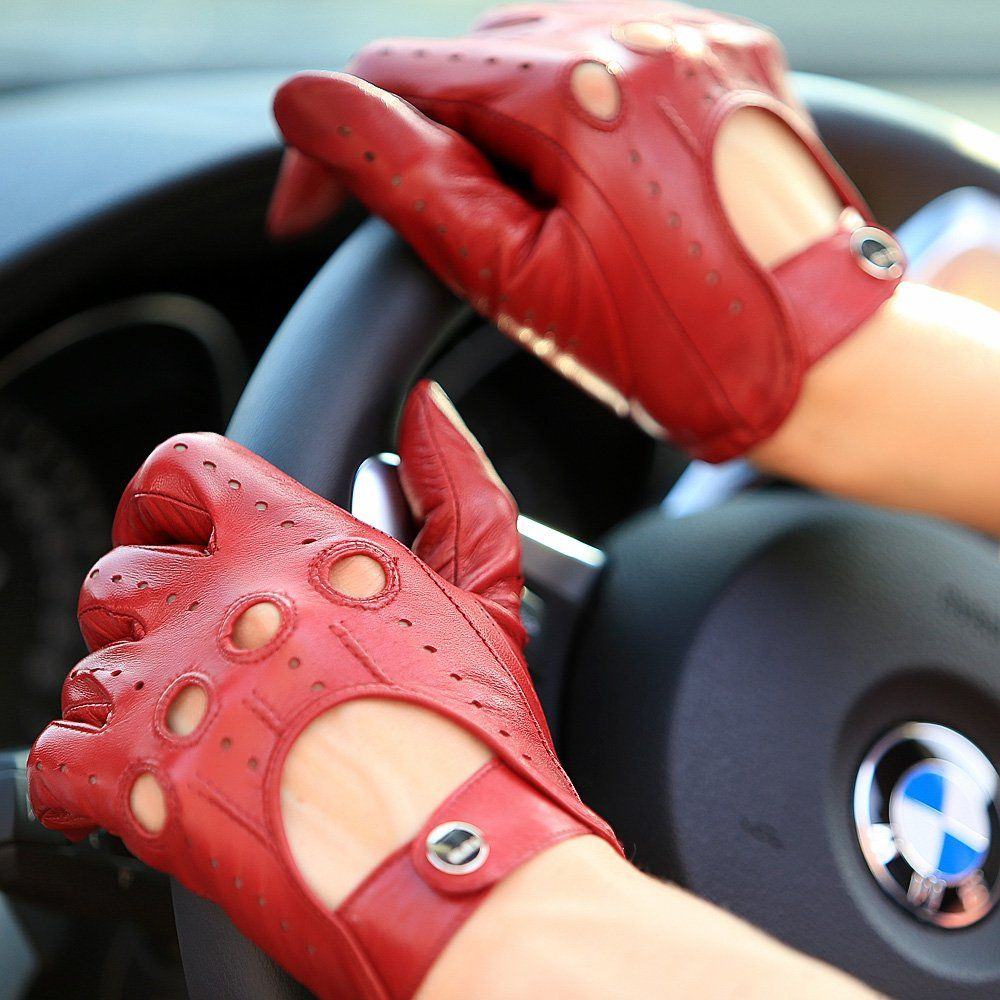 Driving gloves london ontario - Elma Tradional Women S Italian Nappa Leather Gloves Motorcycle Driving Open Back M Burgundy
