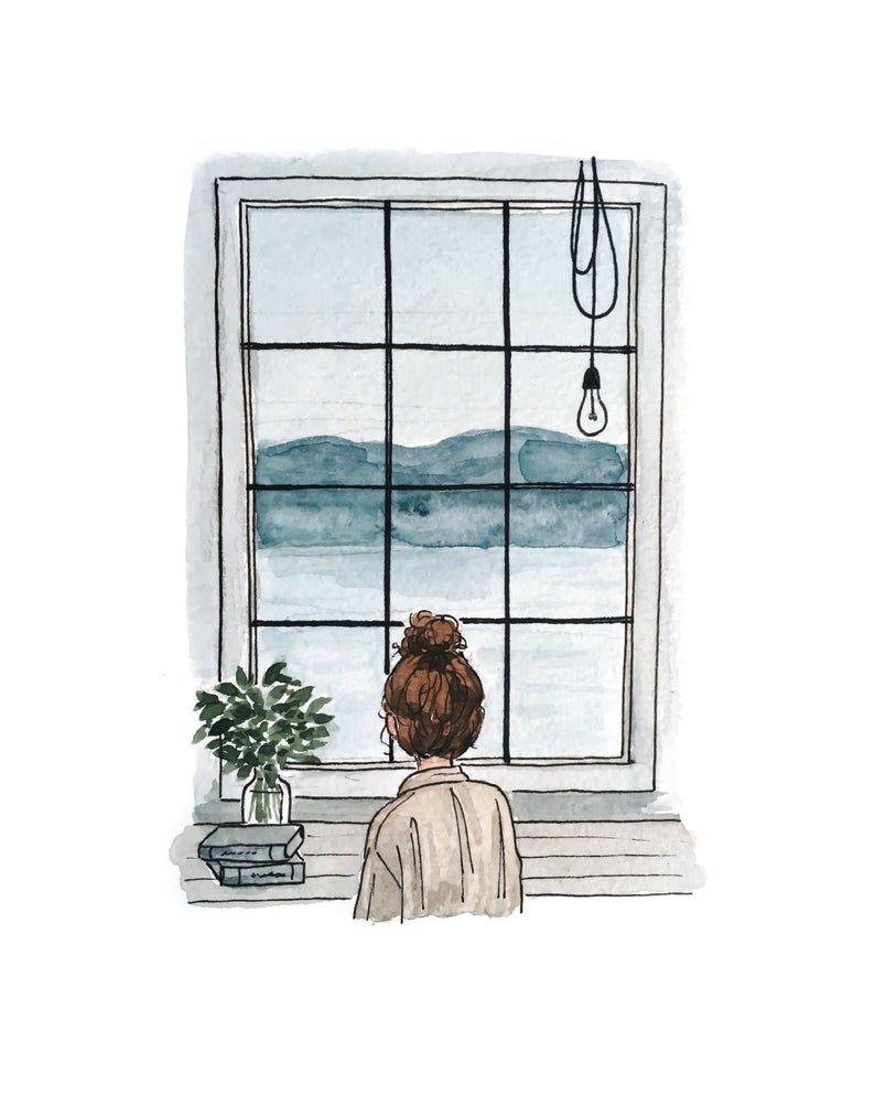 Moody Window Print Watercolor Illustration Wall Art